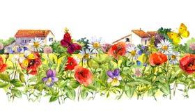 夏天开花-鸦片,春黄菊,草地早熟禾,蝴蝶,农厂房子 花卉边界 水彩 无缝的框架 免版税库存照片