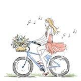 夏天或春天,骑有花篮的逗人喜爱的典雅的女孩一辆自行车 库存例证