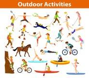 夏天户外运动和活动 向量例证