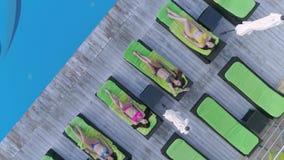 夏天放松,美丽的愉快的女朋友入基于轻便马车休息室的泳装在昂贵的手段的游泳池边附近 股票录像