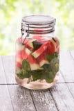 夏天新鲜水果饮料 水果味道的水混合用水我 库存图片