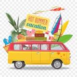 夏天旅行与公共汽车的传染媒介例证 背景海滩概念海洋海运壳 库存例证