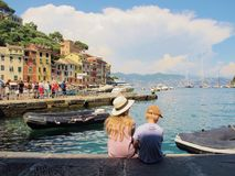夏天旅行在菲诺港,意大利 免版税图库摄影