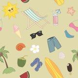 夏天旅行无缝的样式 库存图片