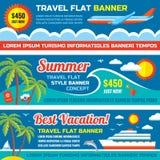 夏天旅行-在平的样式设计设置的装饰水平的传染媒介横幅趋向 夏天旅行传染媒介背景 皇族释放例证