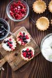 夏天无核小葡萄干结果实馅饼,在头顶上 免版税图库摄影