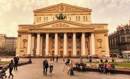 夏天日落在莫斯科大剧院-莫斯科 库存照片