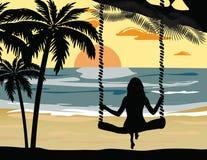 夏天日落海滩 向量例证