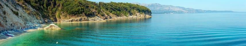 夏天早晨Pulebardha海滩阿尔巴尼亚 库存图片