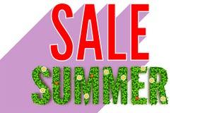 夏天春天和夏天绿色叶子的题字开花,瓢虫 夏天热的折扣 卖广告横幅 库存照片