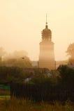 夏天有薄雾的早晨,俄国偏僻地区 免版税库存图片