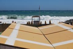 夏天末端在海滩的海风暴 免版税库存图片