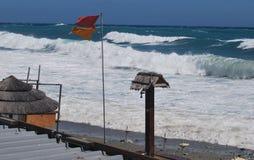 夏天末端在海滩的海风暴 图库摄影