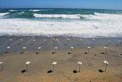 夏天末端在海滩的海风暴 免版税图库摄影