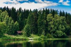 夏天村庄或原木小屋由蓝色湖在农村芬兰 免版税库存图片