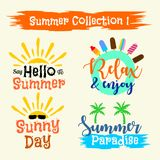 夏天标签,商标,手拉的例证 库存例证