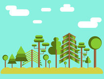 夏天树森林平的例证 库存例证