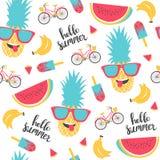 夏天样式 西瓜、菠萝和自行车 库存图片