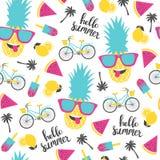 夏天样式 西瓜、菠萝和自行车 免版税库存照片