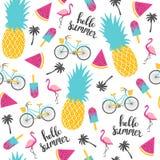 夏天样式 西瓜、菠萝和自行车 免版税库存图片