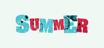 夏天概念被盖印的词艺术例证 图库摄影