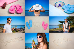 夏天概念-夏天图片拼贴画  库存照片
