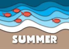 夏天横幅模板以A4格式,与海或海浪、热带沙子海滩、红色鱼和文本 皇族释放例证