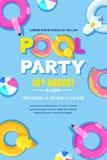 夏天池边聚会,传染媒介海报,横幅布局 独角兽,火鸟,鸭子,球,多福饼逗人喜爱的浮游物在水中 库存例证