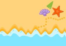 夏天沙子和海概念,顶视图 免版税库存照片