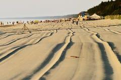 夏天波罗的海海滩在Stegna, Pomerania,波兰 免版税库存图片