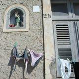 夏天洗衣店的看法 免版税库存照片