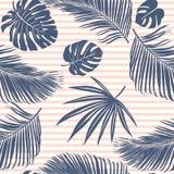 夏天海军桃红色热带森林在fashoin织品、墙纸和卡片的天蓝色条纹无缝的样式留下明亮的心情 向量例证