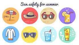 夏天海报传染媒介例证的太阳安全 库存例证