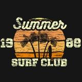 夏天海浪俱乐部传染媒介T恤杉印刷品 库存照片