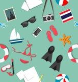 夏天海滩假日辅助部件拼贴画样式 免版税库存照片