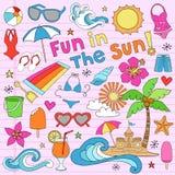 夏天海滩假期乱画向量要素 图库摄影