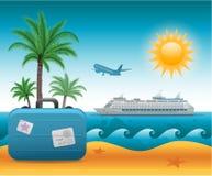 夏天海滩假期背景 免版税图库摄影