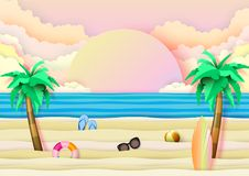 夏天海滩和旅行概念文件艺术样式 皇族释放例证