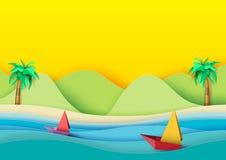 夏天海滩和风船纸艺术样式 向量例证