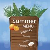 夏天海滩菜单页装饰 库存例证
