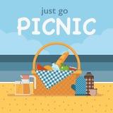 夏天海滩野餐卡片或邀请 库存例证