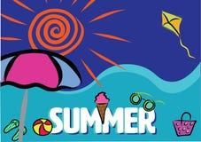 夏天海滩假期颜色横幅 库存照片