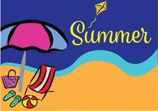 夏天海滩假期颜色横幅 库存图片