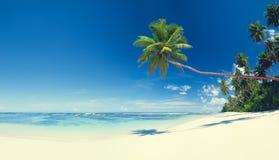 夏天海滩热带天堂海景概念 库存照片