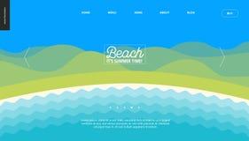 夏天海滩风景背景横幅模板 免版税库存照片