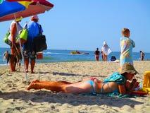 夏天海滩,傲德萨,乌克兰 库存照片