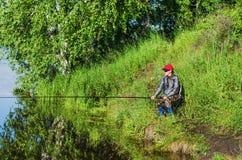 夏天渔在乌拉尔 免版税库存图片