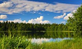 夏天湖的全景有渔夫的 免版税库存图片