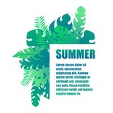 夏天热带异乎寻常的绿色留下模板 向量例证