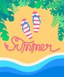 夏天热带海滩有海波浪背景 皇族释放例证